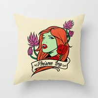 poison ivy Throw Pillows featuring Poison Ivy by Buby87