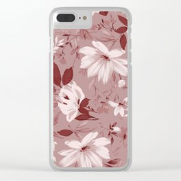 Floral Pink Roses and Flowers Clear iPhone Case