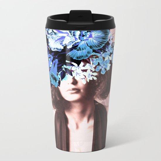 Floral Woman Vintage Blue and Pink Rose Gold Metal Travel Mug