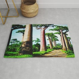 The Disappearing Giant Baobab Trees of Madagascar Landscape Painting Rug