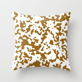 Spots - White and Golden Brown Throw Pillow