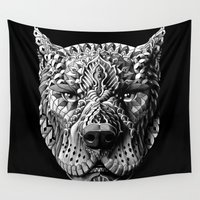 pitbull Wall Tapestries featuring Pitbull by BIOWORKZ