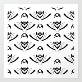 Manly Beard and Straight Razor Pattern Art Print