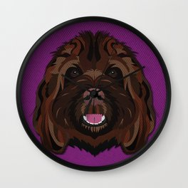 Icons of the Dog Park Labradoodle Design in Bold Colors for Pet Lovers Wall Clock