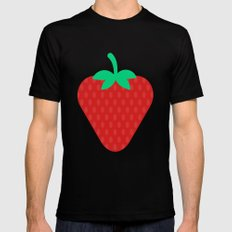 #22 Strawberry MEDIUM Black Mens Fitted Tee