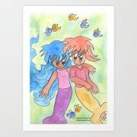 Mermaid Couple Art Print