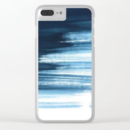 Abstract, Blue, Navy, Minimal, Trendy decor, Interior, Wall art, Photo Clear iPhone Case
