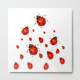 RED LADY BUGS  SWARM  ON WHITE COLOR Metal Print