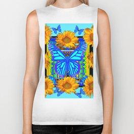 Blue Butterfly Gold Sunflowers design Biker Tank