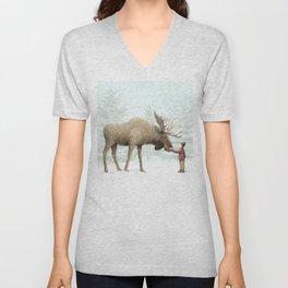Winter Moose Unisex V-Neck