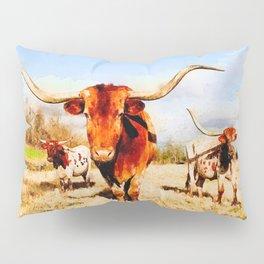 Texas longhorn watercolor painting Pillow Sham