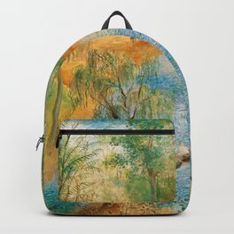 Idyllic Paradise, Two Streams Converging )Río Bravo del Norte) landscape painting by O. Sachoroff Backpack