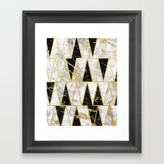 Mixed Marble Triangles // Gold Flecked Black & White Marble Framed Art Print