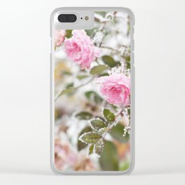 Flowering pink roses under the snow, vintage, pastel colors Clear iPhone Case