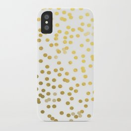 Gold Foil Confetti Polka Dots Brushstroke Watercolor Ink Holiday Inspiration Party Abstract Pattern iPhone Case