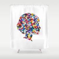 sprinkles Shower Curtains featuring Sprinkles by DinoPrints
