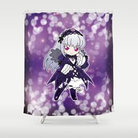 chibi Shower Curtains featuring Chibi Suigintou by Yue Graphic Design
