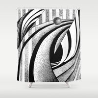 gravity Shower Curtains featuring GRAVITY by Fen_A