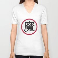 dragonball V-neck T-shirts featuring Demon Clan Insignia - Dragonball Z by Larsonary