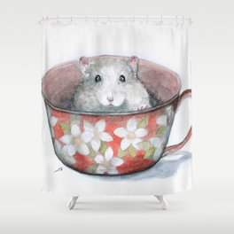 Rat in a cup Shower Curtain
