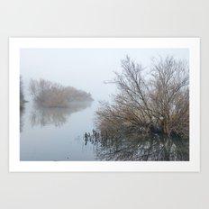 Magic Foggy Morning At The Lake Art Print
