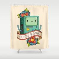 bmo Shower Curtains featuring BMO | CHECK PLEASE by Daniel Mackey