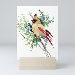 Cardinal Bird Artwork, female cardinal bird Mini Art Print