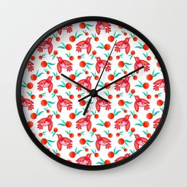 Little pretty swallows birds, sunny bright lovely juicy ripe oranges vintage retro red white pattern Wall Clock
