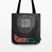 smoke Tote Bags featuring Smoke! by Hector Mansilla