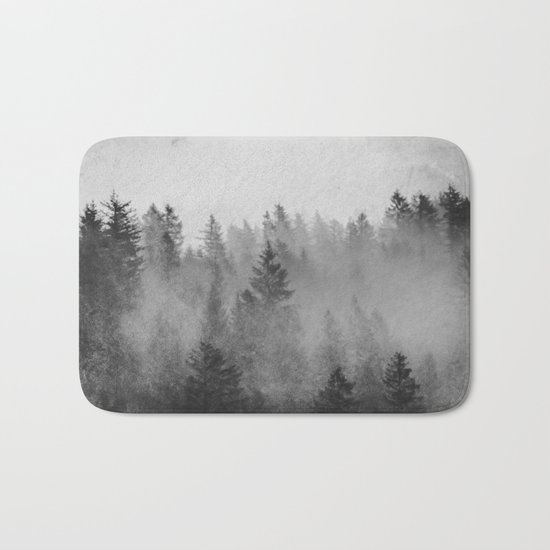 Black and White Forest Abstract Bath Mat