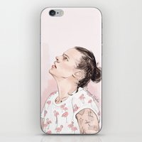 coconutwishes iPhone & iPod Skins featuring Harry Flamingo by Coconut Wishes