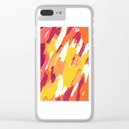 red pink yellow and orange camouflage graffiti painting background Clear iPhone Case