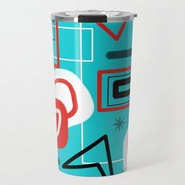 Turquoise Red Black Mid Mod Print Travel Mug
