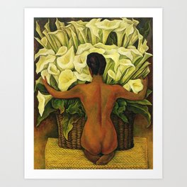 Nude with Calla Lilies by Deigo Rivera Art Print