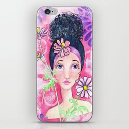 Whimiscal Girl with Flowers iPhone Skin