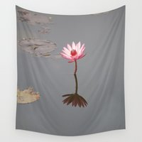 buddhism Wall Tapestries featuring One Lotos by Maria Heyens