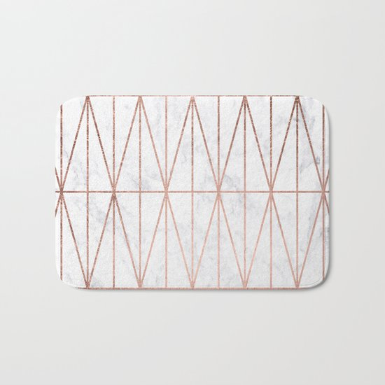 Modern geometric triangles faux rose gold pattern on white marble Bath Mat