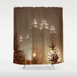 Salt Lake Temple - Christmas Lights Shower Curtain