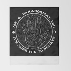 Me & Paranormal You - James Roper Design - Palmistry B&W (white lettering) Throw Blanket