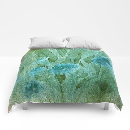 Soft Elegant Watercolor Floral - Blue Comforters