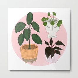 Green House Plants Art Print Metal Print