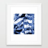 bands Framed Art Prints featuring Blue Bands by Motif Mondial