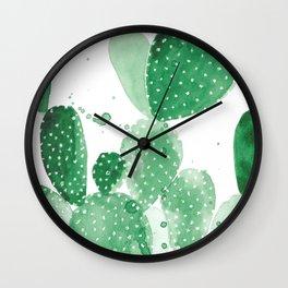 Green Paddle Cactus Wall Clock