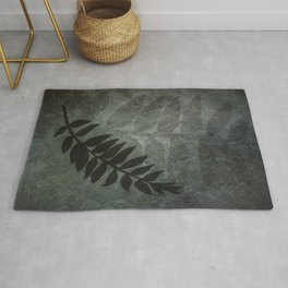 PPG Night Watch Abstract Grunge with Fern Leaf - Foliage Silhouettes Rug