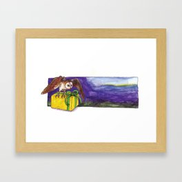 Owl with Yellow Present Framed Art Print