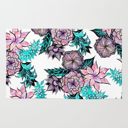Girly Pink Teal Watercolor Floral Illustrated Pattern Rug