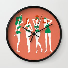 Beach Bombshells – Redheads on Coral Wall Clock