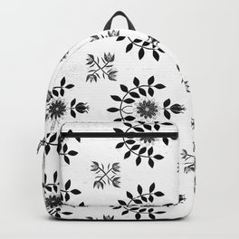 Floral Prairie White and Black Accents Backpack