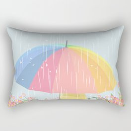 Girl Walking In Rain Day Rectangular Pillow