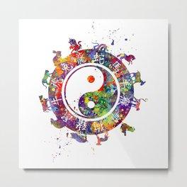 Zodiac Wheel Art Astrology Gift Yin Yang Symbol Art Metal Print